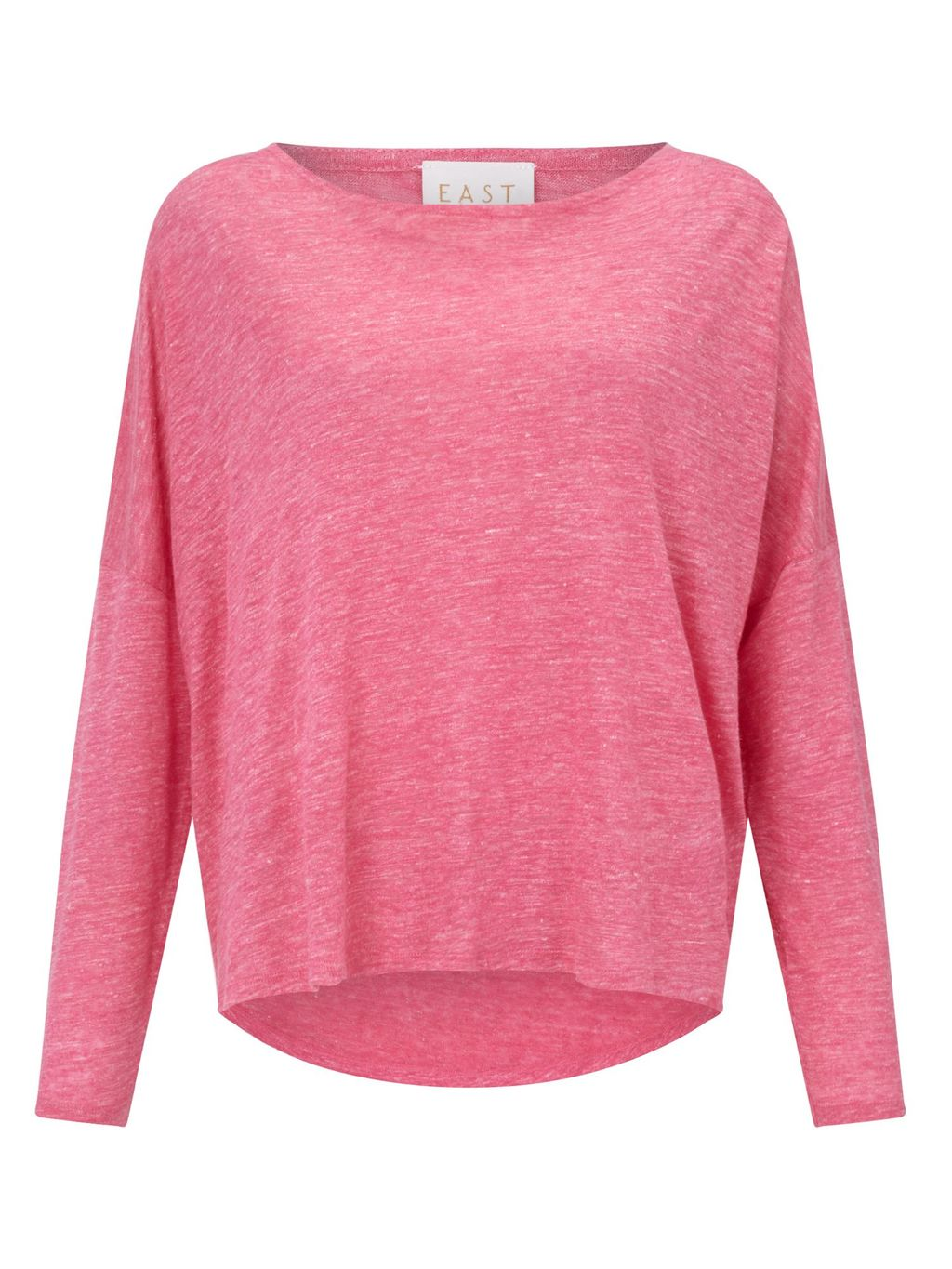 Oversized Linen Top, Raspberry - pattern: plain; predominant colour: pink; occasions: casual; length: standard; style: top; fibres: linen - 100%; fit: loose; neckline: crew; sleeve length: long sleeve; sleeve style: standard; texture group: linen; pattern type: fabric; season: s/s 2016; wardrobe: highlight