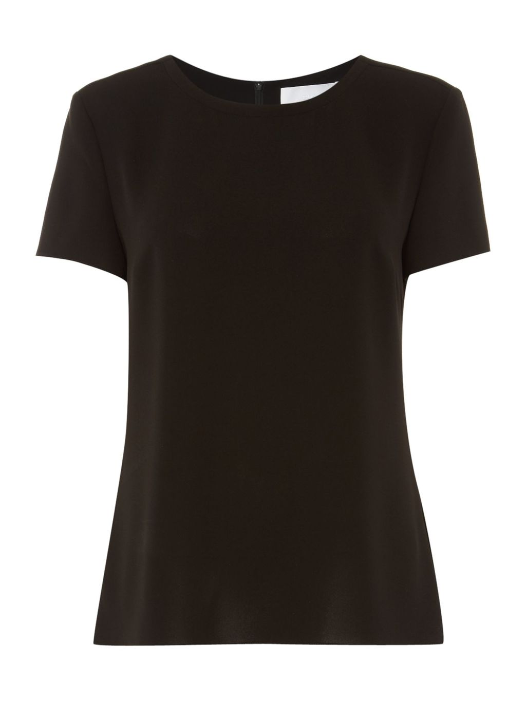 Ilyna Short Sleeve Top, Black - pattern: plain; predominant colour: black; occasions: casual; length: standard; style: top; fit: body skimming; neckline: crew; sleeve length: short sleeve; sleeve style: standard; pattern type: fabric; texture group: jersey - stretchy/drapey; fibres: viscose/rayon - mix; season: s/s 2016; wardrobe: basic
