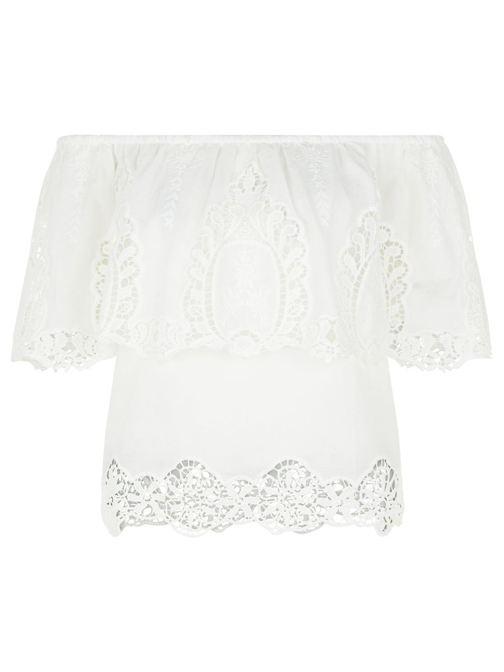 Marilyn Top, Ivory - neckline: off the shoulder; predominant colour: white; occasions: casual; length: standard; style: top; fibres: cotton - 100%; fit: body skimming; sleeve length: half sleeve; sleeve style: standard; texture group: lace; pattern type: fabric; pattern: patterned/print; season: s/s 2016