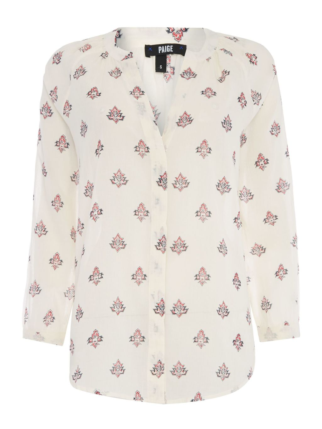 Sammy Long Sleeve Printed Blouse, Cream - neckline: v-neck; style: blouse; predominant colour: ivory/cream; secondary colour: blush; occasions: casual; length: standard; fibres: cotton - 100%; fit: body skimming; sleeve length: long sleeve; sleeve style: standard; texture group: cotton feel fabrics; pattern type: fabric; pattern: patterned/print; multicoloured: multicoloured; season: s/s 2016