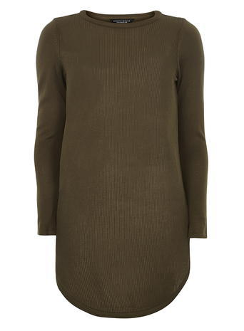 Womens Dorothy Perkins Khaki Longline Jumper, Green - pattern: plain; length: below the bottom; style: standard; predominant colour: khaki; occasions: casual; fit: slim fit; neckline: crew; sleeve length: long sleeve; sleeve style: standard; texture group: knits/crochet; pattern type: fabric; fibres: viscose/rayon - mix; season: s/s 2016; wardrobe: basic