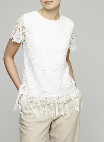 Womens Lace Adorned Fringe Top, Ivory, Ivory - neckline: round neck; predominant colour: ivory/cream; occasions: casual, creative work; length: standard; style: top; fibres: polyester/polyamide - 100%; fit: body skimming; sleeve length: short sleeve; sleeve style: standard; texture group: lace; pattern type: fabric; pattern size: standard; pattern: patterned/print; embellishment: lace; season: s/s 2016; wardrobe: highlight