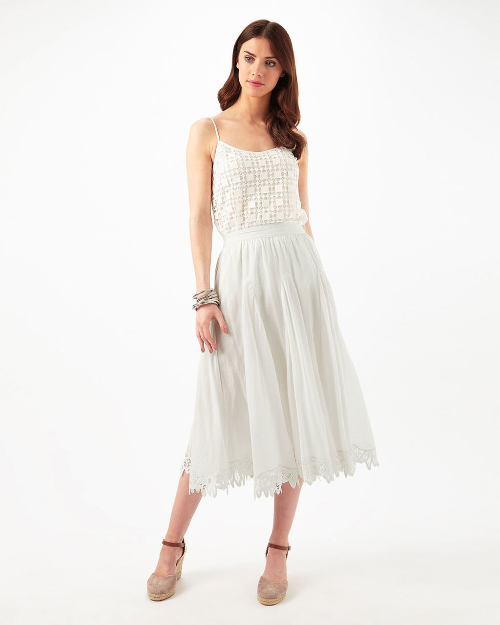 Suri Battenberg Lace Hem Skirt - length: calf length; pattern: plain; style: full/prom skirt; fit: loose/voluminous; waist: mid/regular rise; predominant colour: ivory/cream; occasions: casual; texture group: lace; pattern type: fabric; fibres: viscose/rayon - mix; pattern size: standard (bottom); season: s/s 2016; wardrobe: highlight
