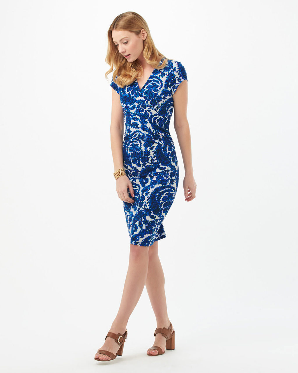 Paisley Dress - style: shift; length: below the knee; neckline: v-neck; sleeve style: capped; fit: tailored/fitted; predominant colour: royal blue; secondary colour: pale blue; fibres: viscose/rayon - stretch; occasions: occasion; sleeve length: short sleeve; pattern type: fabric; pattern: patterned/print; texture group: woven light midweight; season: s/s 2016; wardrobe: event