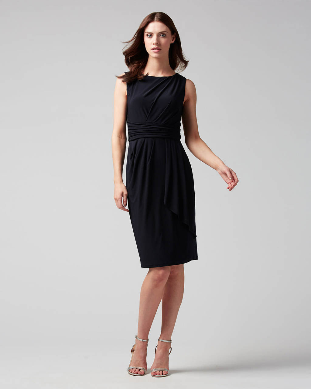 Cordelia Dress - style: shift; fit: tailored/fitted; pattern: plain; sleeve style: sleeveless; predominant colour: black; length: on the knee; fibres: polyester/polyamide - 100%; occasions: occasion; neckline: crew; sleeve length: sleeveless; pattern type: fabric; texture group: woven light midweight; season: s/s 2016; wardrobe: event