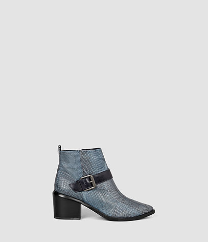 Jason Heel Boot - predominant colour: denim; secondary colour: black; occasions: casual, creative work; material: leather; heel height: high; embellishment: buckles; heel: block; toe: round toe; boot length: ankle boot; style: biker boot; finish: plain; pattern: animal print; season: s/s 2016; wardrobe: highlight