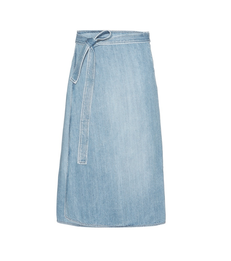 Donna Denim Wrap Skirt - length: below the knee; pattern: plain; style: wrap/faux wrap; fit: loose/voluminous; waist: high rise; waist detail: belted waist/tie at waist/drawstring; predominant colour: pale blue; occasions: casual, creative work; fibres: cotton - 100%; texture group: denim; pattern type: fabric; season: s/s 2016