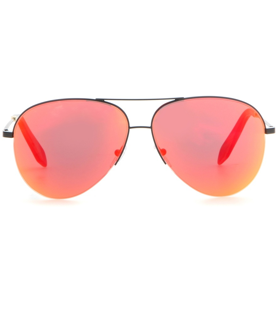 Classic Victoria Mirrored Sunglasses - secondary colour: pink; predominant colour: black; occasions: casual, creative work; style: aviator; size: standard; material: chain/metal; pattern: plain; finish: metallic; season: s/s 2016; wardrobe: basic