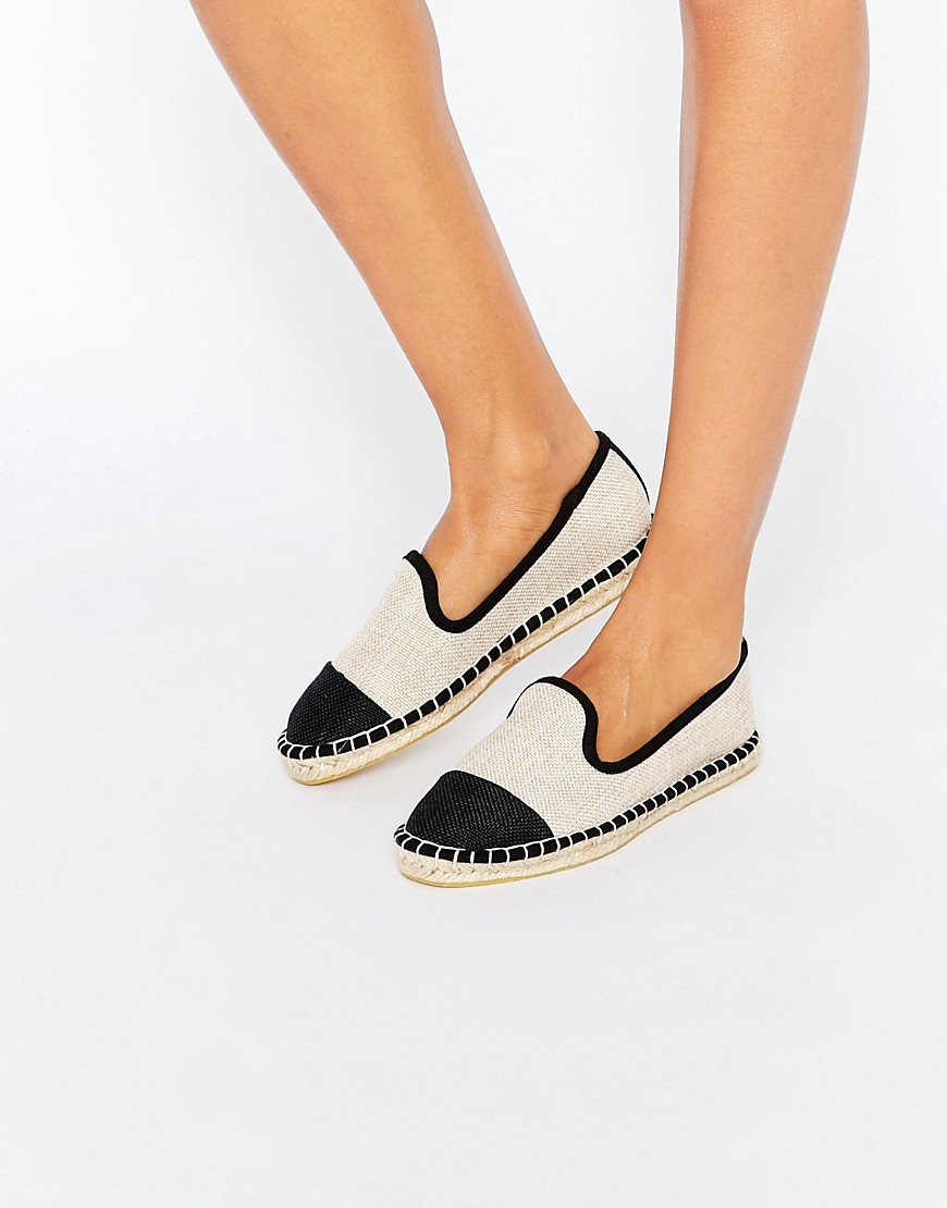 Jazzlyn Espadrilles Natural/Black - predominant colour: ivory/cream; secondary colour: black; occasions: casual, holiday; material: fabric; heel height: flat; toe: round toe; finish: plain; pattern: colourblock; embellishment: toe cap; style: espadrilles; season: s/s 2016