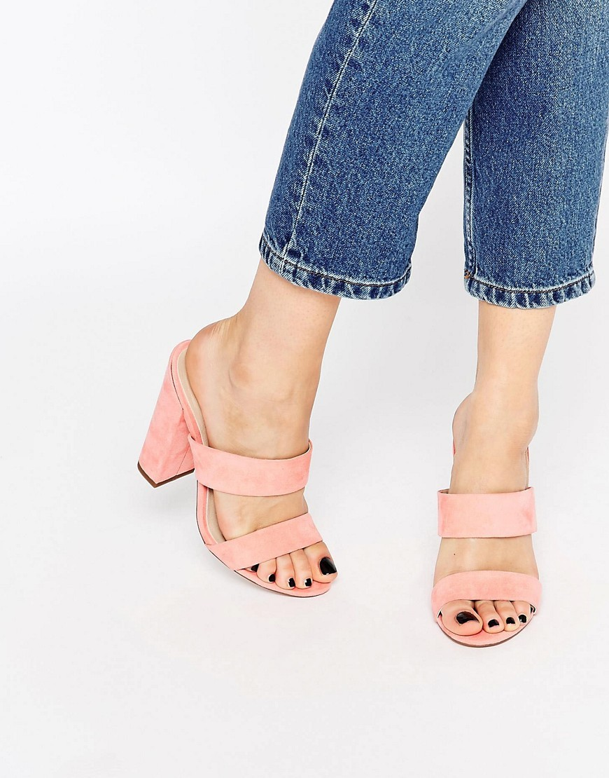 Hyde Park Mules Pink - predominant colour: pink; heel height: high; heel: block; toe: open toe/peeptoe; style: slides; finish: plain; pattern: plain; material: faux suede; occasions: creative work; season: s/s 2016; wardrobe: highlight