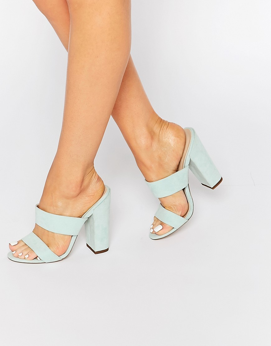 Hyde Park Mules Mint - predominant colour: pistachio; occasions: evening, holiday; material: fabric; heel height: high; heel: block; toe: open toe/peeptoe; style: standard; finish: plain; pattern: plain; season: s/s 2016; wardrobe: highlight