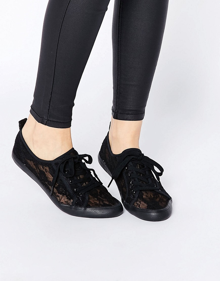 Dagnall Lace Tie Up Trainers Black - predominant colour: black; occasions: casual; material: fabric; heel height: flat; toe: round toe; style: trainers; finish: plain; pattern: plain; embellishment: lace; season: s/s 2016