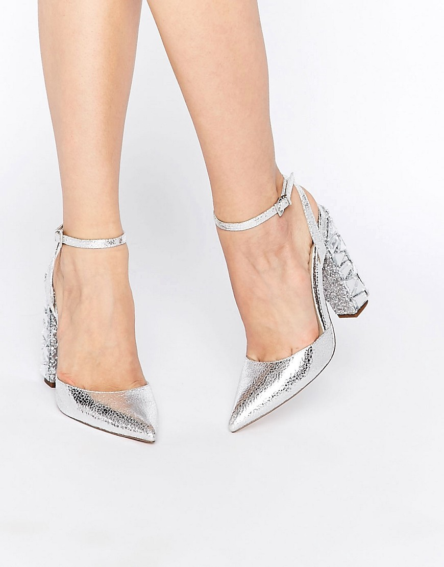 Playground Embellished Pointed High Heels Silver - predominant colour: silver; occasions: evening, occasion; material: faux leather; heel height: high; embellishment: crystals/glass; ankle detail: ankle strap; heel: block; toe: pointed toe; style: courts; finish: plain; pattern: plain; season: s/s 2016; wardrobe: event