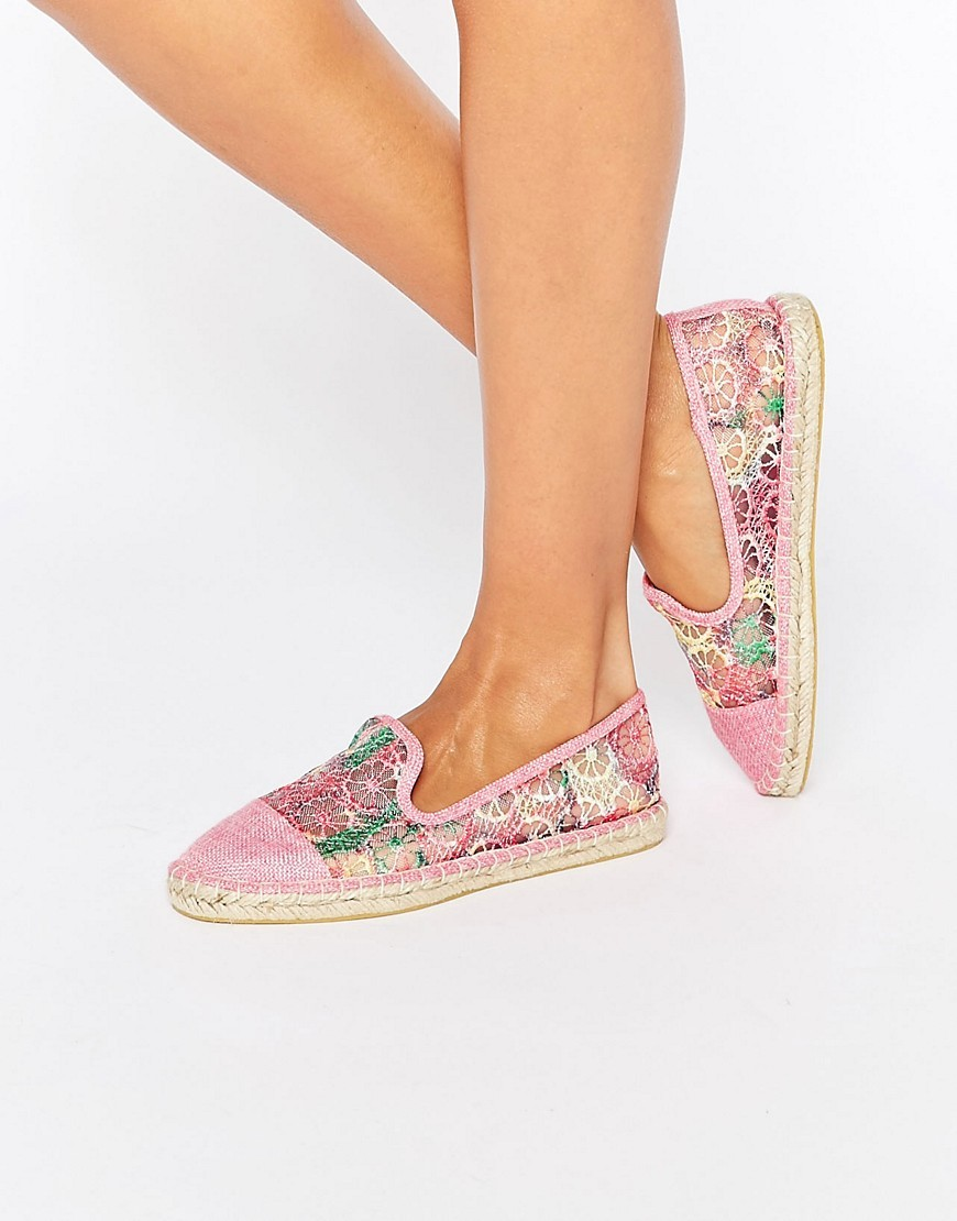 Jazzlyn Espadrilles Multi Crochet - predominant colour: pink; occasions: casual, holiday; material: fabric; heel height: flat; toe: round toe; finish: plain; pattern: florals; style: espadrilles; season: s/s 2016; wardrobe: highlight
