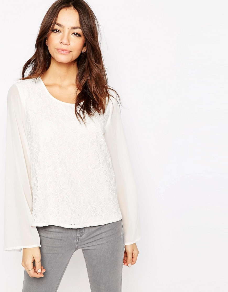 Bell Sleeve Textured Top Cloud Dancer - neckline: round neck; pattern: plain; predominant colour: white; occasions: casual; length: standard; style: top; fibres: cotton - mix; fit: body skimming; sleeve length: long sleeve; sleeve style: standard; pattern type: fabric; texture group: jersey - stretchy/drapey; season: s/s 2016; wardrobe: basic