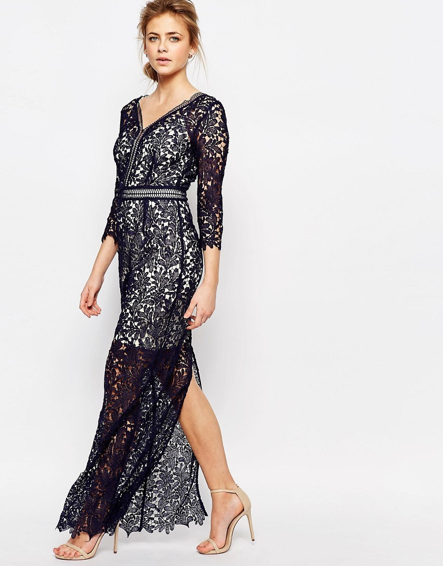 Lace Maxi Dress Navy - neckline: v-neck; style: maxi dress; length: ankle length; predominant colour: navy; occasions: evening; fit: body skimming; fibres: polyester/polyamide - 100%; sleeve length: 3/4 length; sleeve style: standard; texture group: lace; pattern type: fabric; pattern size: standard; pattern: patterned/print; embellishment: lace; season: s/s 2016; wardrobe: event; embellishment location: pattern