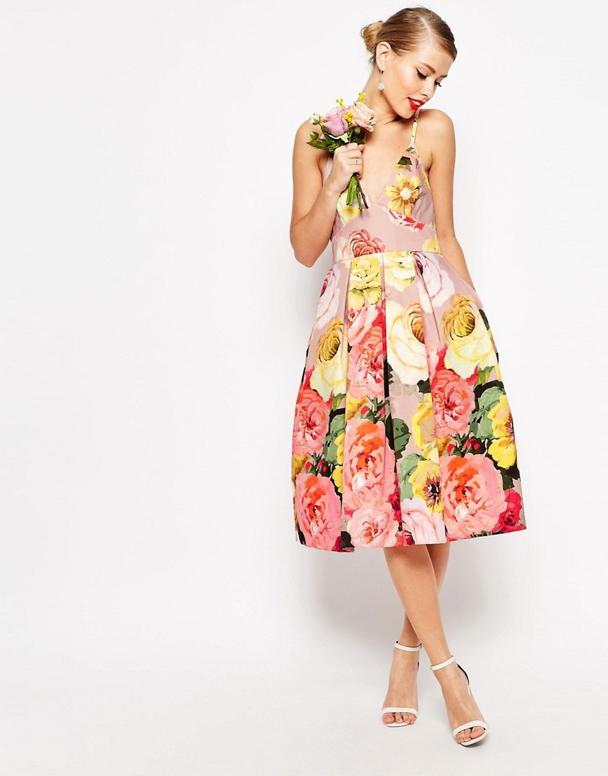 Wedding Printed Pinny Midi Prom Dress Multi - length: below the knee; neckline: v-neck; sleeve style: spaghetti straps; style: prom dress; secondary colour: pink; predominant colour: blush; occasions: evening, occasion; fit: fitted at waist & bust; fibres: polyester/polyamide - 100%; sleeve length: sleeveless; pattern type: fabric; pattern: florals; texture group: other - light to midweight; multicoloured: multicoloured; season: s/s 2016; trends: new romantics; wardrobe: event