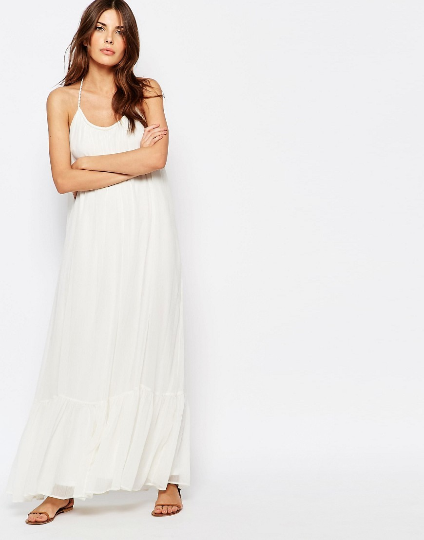 Volumious Maxi Dress Pristine - pattern: plain; sleeve style: sleeveless; style: maxi dress; length: ankle length; neckline: low halter neck; predominant colour: white; occasions: casual, holiday; fit: body skimming; fibres: polyester/polyamide - 100%; sleeve length: sleeveless; pattern type: fabric; texture group: jersey - stretchy/drapey; season: s/s 2016; wardrobe: basic