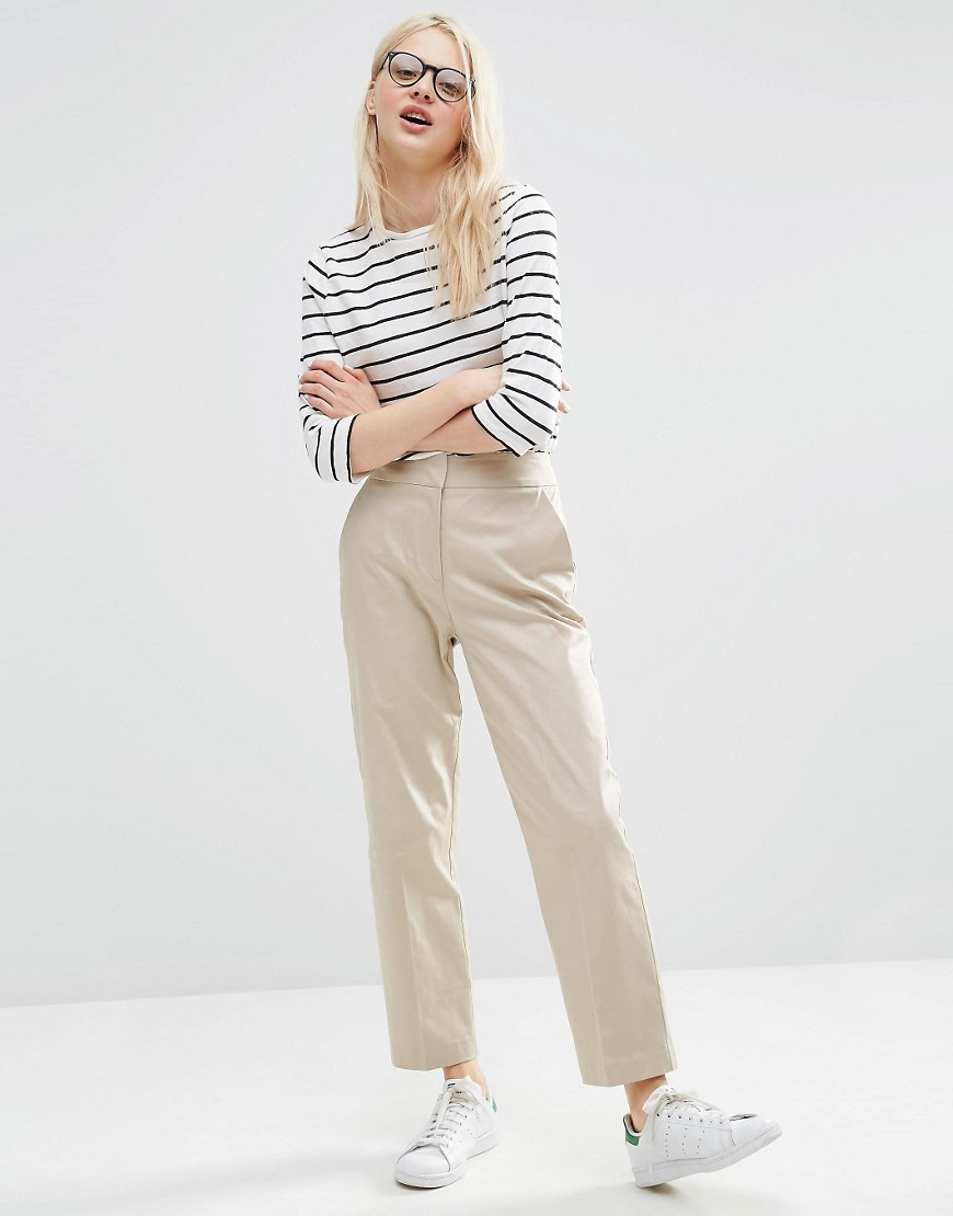 High Waist Trouser With Straight Leg Stone - pattern: plain; waist: high rise; predominant colour: stone; occasions: casual, creative work; length: ankle length; fibres: cotton - stretch; waist detail: narrow waistband; texture group: cotton feel fabrics; fit: wide leg; pattern type: fabric; style: standard; season: s/s 2016; wardrobe: basic