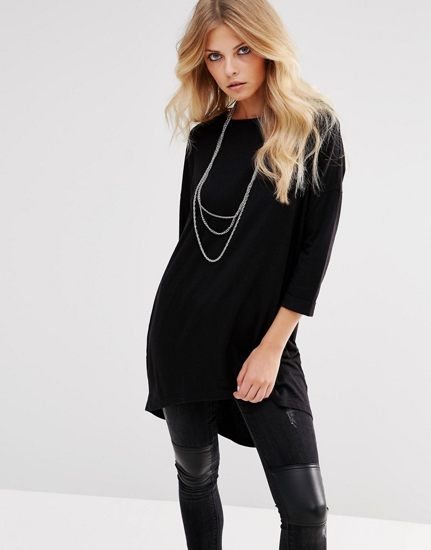 Oversize High Low T Shirt Black - neckline: slash/boat neckline; sleeve style: dolman/batwing; pattern: plain; length: below the bottom; style: tunic; predominant colour: black; occasions: casual; fibres: cotton - mix; fit: loose; sleeve length: 3/4 length; texture group: knits/crochet; pattern type: knitted - fine stitch; season: s/s 2016; wardrobe: basic