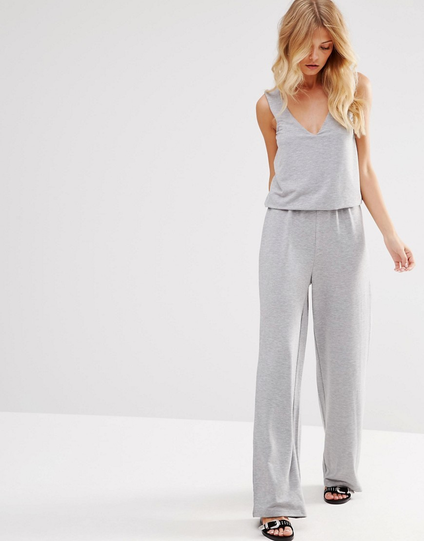 Layered Jumpsuit Grey - length: standard; neckline: low v-neck; sleeve style: standard vest straps/shoulder straps; fit: fitted at waist; pattern: plain; predominant colour: light grey; occasions: casual; fibres: polyester/polyamide - mix; sleeve length: sleeveless; style: jumpsuit; pattern type: fabric; texture group: other - light to midweight; season: s/s 2016; wardrobe: highlight