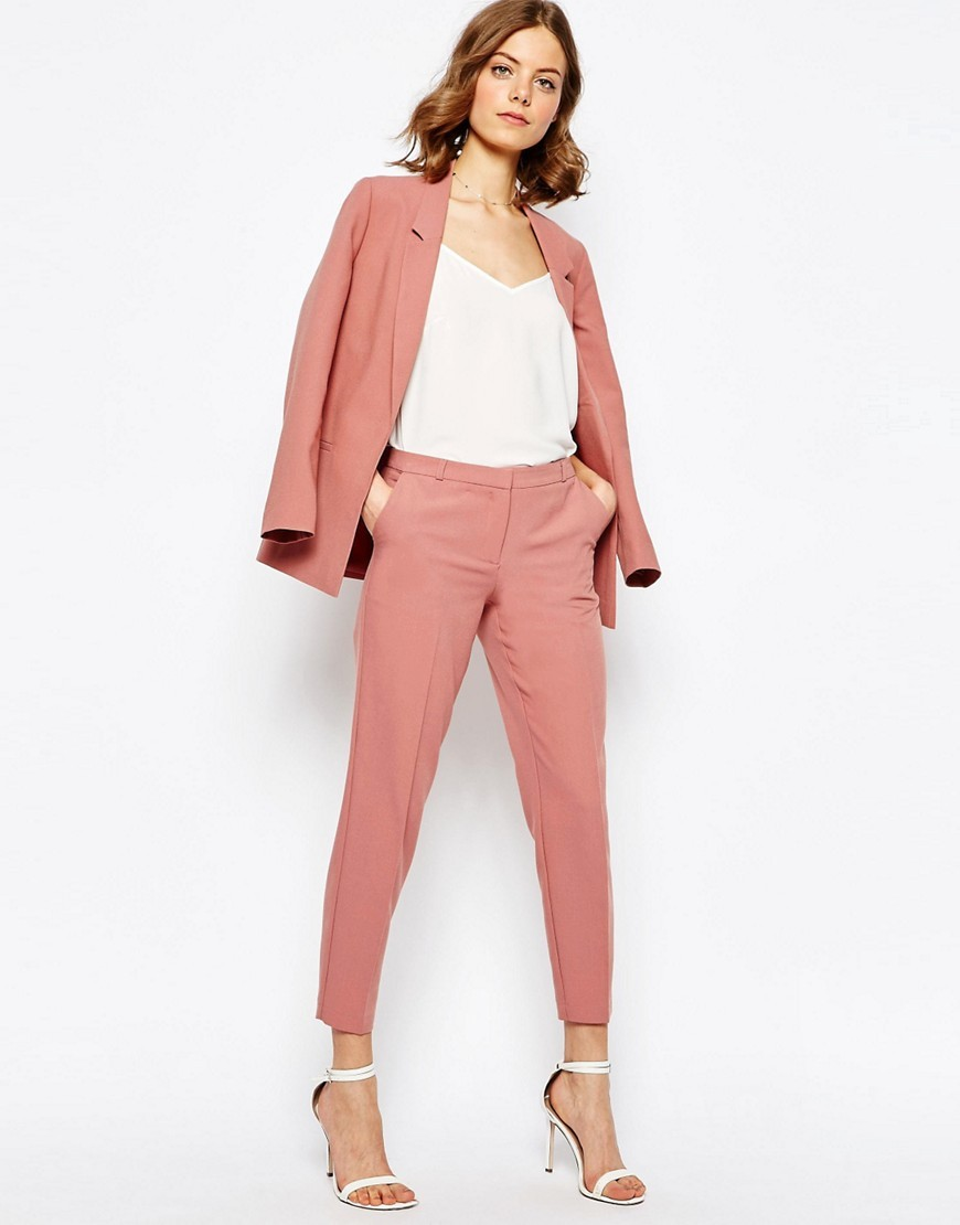Ankle Grazer Cigarette Trousers In Crepe Cosmetic Pink - pattern: plain; waist: mid/regular rise; length: ankle length; fibres: polyester/polyamide - 100%; waist detail: narrow waistband; texture group: crepes; fit: slim leg; pattern type: fabric; style: standard; predominant colour: dusky pink; occasions: creative work; season: s/s 2016; wardrobe: highlight