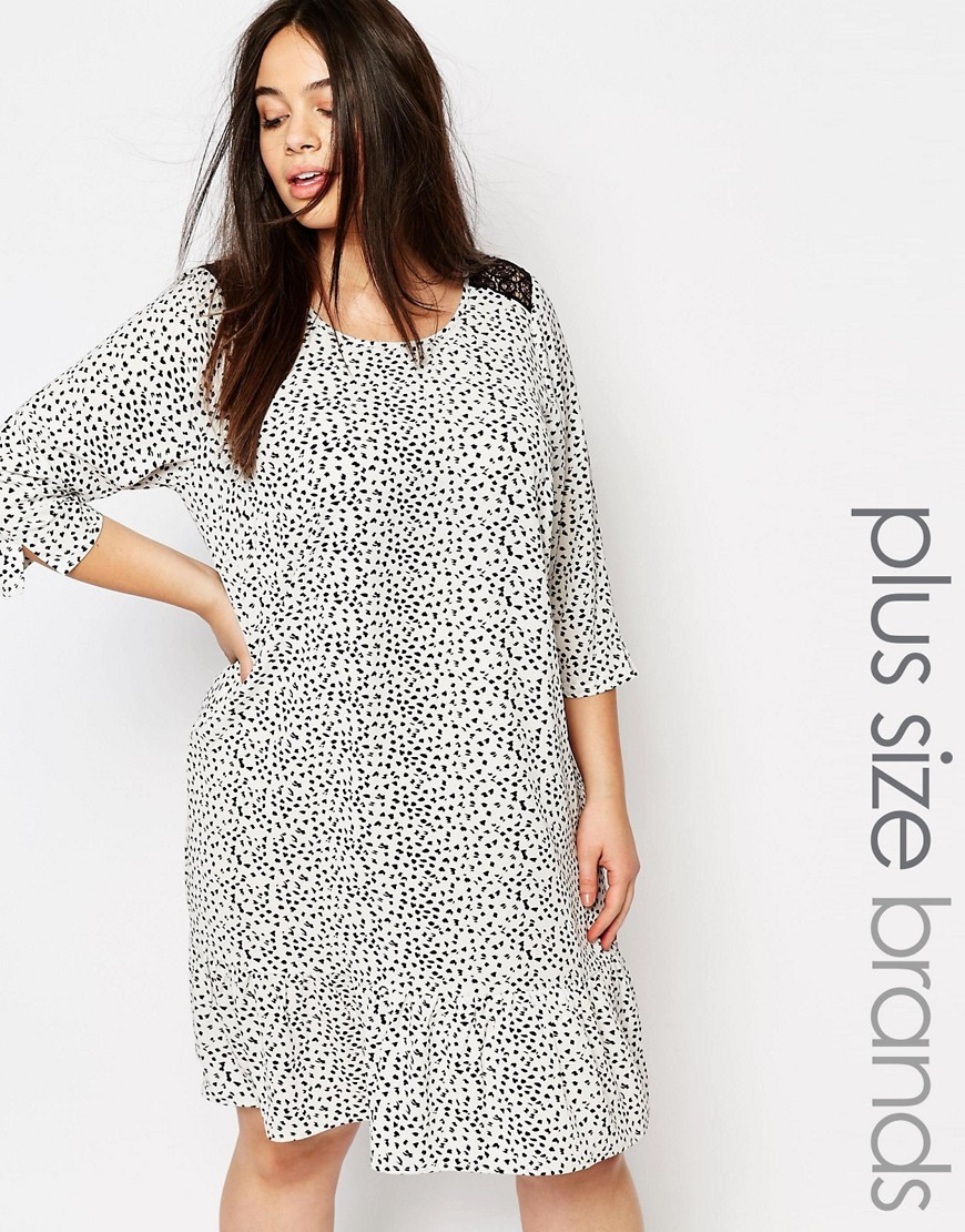 Spotty Print Swing Dress With Lace Insert Shoulder Detail Multi - style: shift; predominant colour: white; secondary colour: light grey; occasions: casual; length: on the knee; fit: body skimming; fibres: polyester/polyamide - 100%; neckline: crew; sleeve length: 3/4 length; sleeve style: standard; pattern type: fabric; pattern: patterned/print; texture group: other - light to midweight; multicoloured: multicoloured; season: s/s 2016