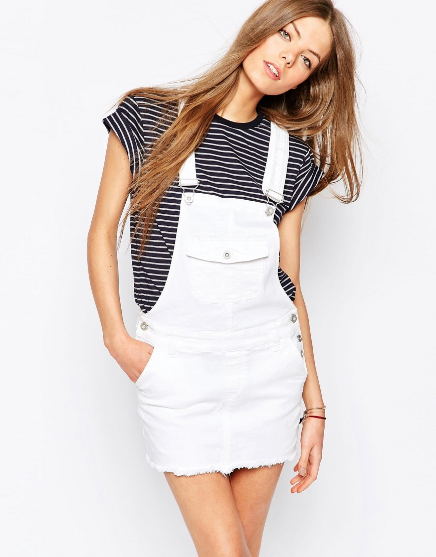 Short Denim Dungaree Dress White - length: mini; pattern: plain; sleeve style: sleeveless; style: dungaree dress/pinafore; predominant colour: white; occasions: casual; fit: body skimming; fibres: cotton - stretch; sleeve length: sleeveless; texture group: denim; neckline: low square neck; pattern type: fabric; season: s/s 2016; wardrobe: highlight