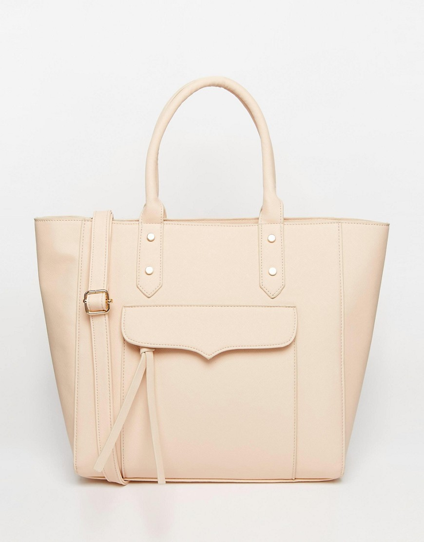 Zip Pocket Tote Bag Mink - predominant colour: nude; occasions: casual, creative work; type of pattern: standard; style: tote; length: handle; size: standard; material: leather; pattern: plain; finish: plain; season: s/s 2016