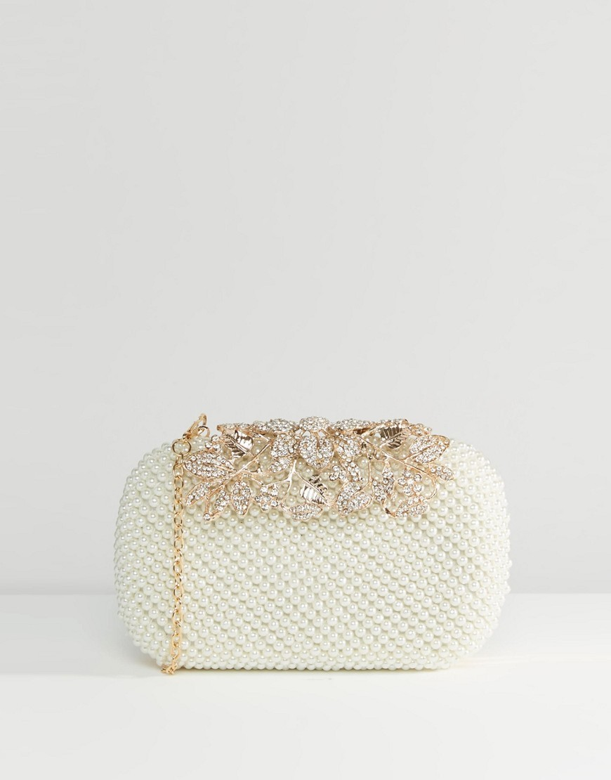 Faux Pearl Box Clutch With Rhinestone Detail Cream - predominant colour: ivory/cream; secondary colour: gold; occasions: occasion; type of pattern: standard; style: clutch; length: hand carry; size: mini; material: faux leather; pattern: plain; finish: metallic; embellishment: chain/metal; season: s/s 2016; wardrobe: event