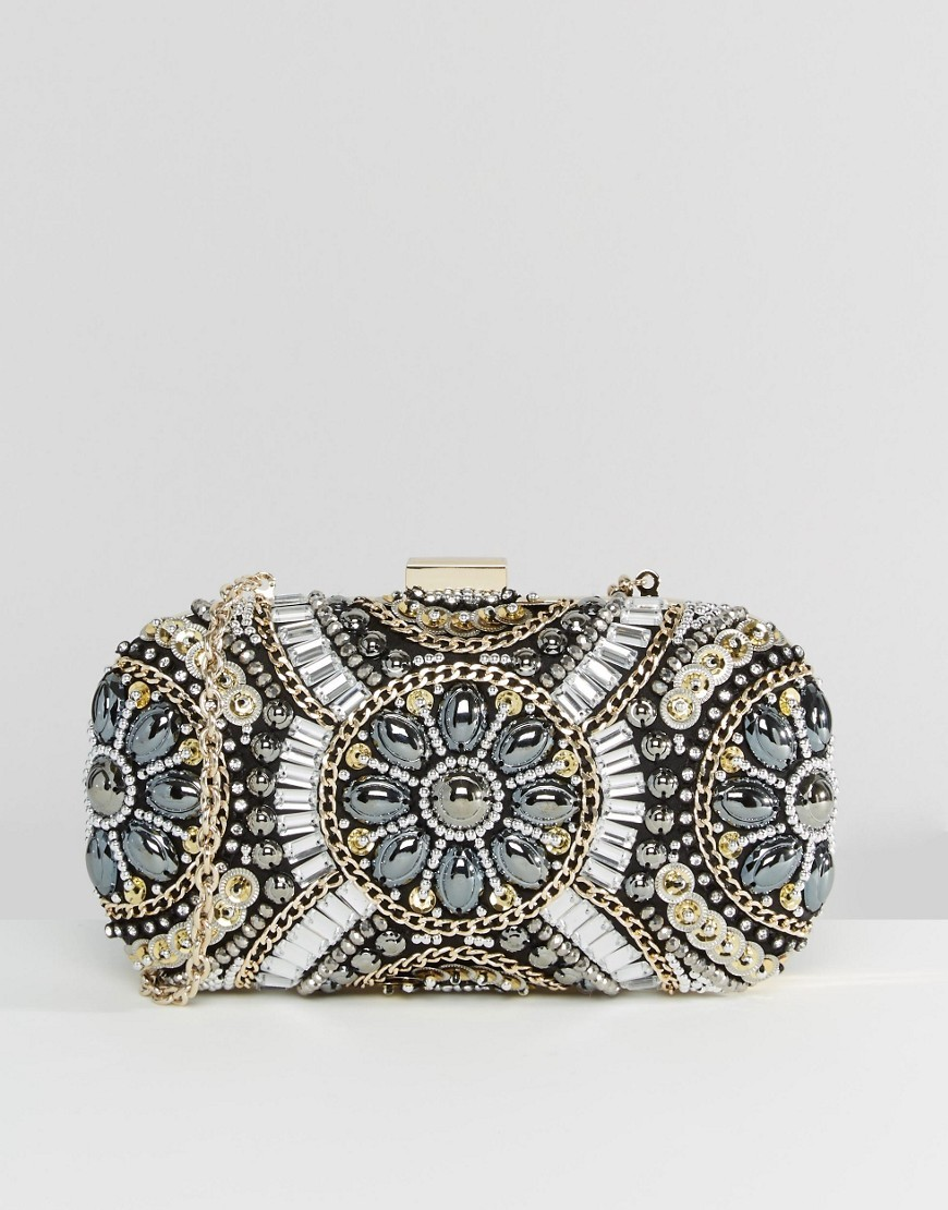 Black & Metallic Beaded Box Clutch Bag Gold - secondary colour: silver; predominant colour: gold; occasions: evening, occasion; type of pattern: heavy; style: clutch; length: hand carry; size: small; material: faux leather; finish: metallic; pattern: patterned/print; season: s/s 2016; wardrobe: event