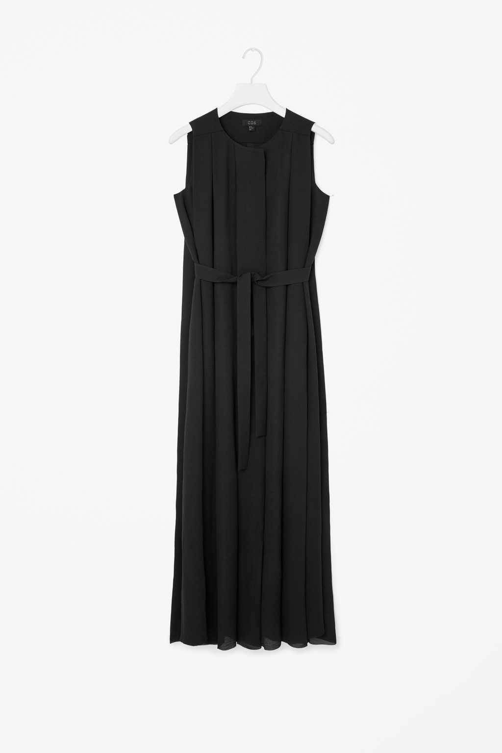 Tie Waist Pleated Dress - style: shift; length: calf length; neckline: round neck; pattern: plain; sleeve style: sleeveless; waist detail: belted waist/tie at waist/drawstring; predominant colour: black; occasions: casual, creative work; fit: body skimming; fibres: polyester/polyamide - 100%; hip detail: adds bulk at the hips; sleeve length: sleeveless; pattern type: fabric; pattern size: standard; texture group: other - light to midweight; season: s/s 2016; wardrobe: basic