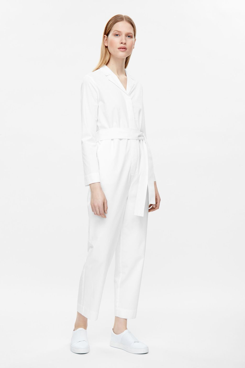 Belted Boiler Suit - neckline: shirt collar/peter pan/zip with opening; pattern: plain; waist detail: belted waist/tie at waist/drawstring; predominant colour: white; length: ankle length; fit: body skimming; fibres: cotton - 100%; sleeve length: long sleeve; sleeve style: standard; texture group: cotton feel fabrics; style: jumpsuit; pattern type: fabric; occasions: creative work; season: s/s 2016