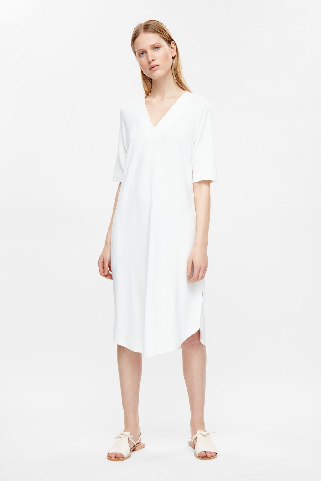 V Neck Jersey Dress - style: smock; neckline: low v-neck; fit: loose; pattern: plain; predominant colour: white; occasions: casual, creative work; length: on the knee; fibres: viscose/rayon - stretch; sleeve length: half sleeve; sleeve style: standard; pattern type: fabric; texture group: jersey - stretchy/drapey; season: s/s 2016; wardrobe: basic