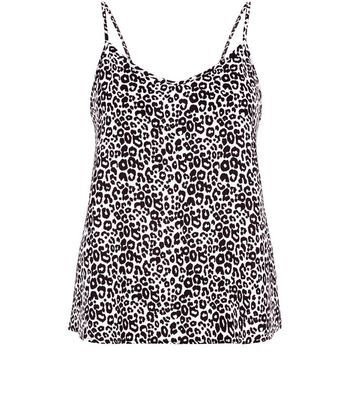 White Animal Print Cami - neckline: v-neck; sleeve style: sleeveless; style: camisole; secondary colour: white; predominant colour: black; occasions: casual; length: standard; fibres: polyester/polyamide - stretch; fit: body skimming; sleeve length: sleeveless; pattern type: fabric; pattern: animal print; texture group: jersey - stretchy/drapey; multicoloured: multicoloured; season: s/s 2016; wardrobe: highlight