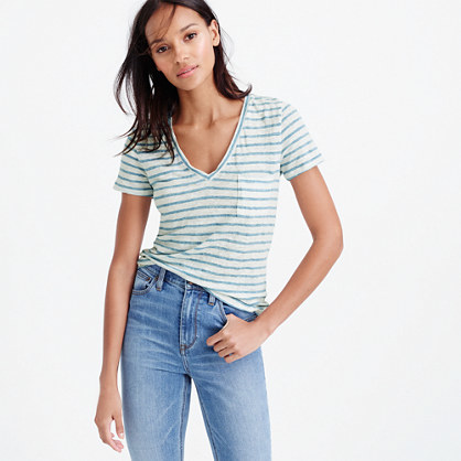 Linen V Neck Pocket T Shirt In Stripe - neckline: v-neck; pattern: horizontal stripes; style: t-shirt; bust detail: pocket detail at bust; predominant colour: white; secondary colour: pale blue; occasions: casual; length: standard; fibres: linen - 100%; fit: body skimming; sleeve length: short sleeve; sleeve style: standard; pattern type: fabric; texture group: jersey - stretchy/drapey; multicoloured: multicoloured; season: s/s 2016; wardrobe: highlight