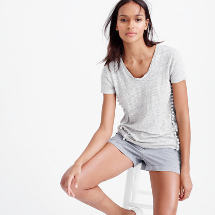 V Neck Top With Pom Pom Trim - pattern: plain; style: t-shirt; predominant colour: light grey; occasions: casual; length: standard; fibres: linen - 100%; fit: body skimming; neckline: crew; sleeve length: short sleeve; sleeve style: standard; pattern type: fabric; texture group: jersey - stretchy/drapey; season: s/s 2016