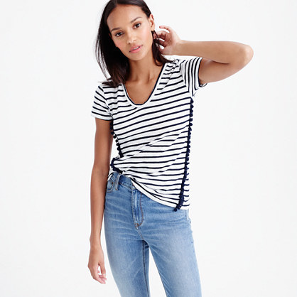 Striped V Neck Top With Pom Pom Trim - neckline: v-neck; pattern: horizontal stripes; style: t-shirt; predominant colour: ivory/cream; secondary colour: black; occasions: casual; length: standard; fibres: linen - 100%; fit: body skimming; sleeve length: short sleeve; sleeve style: standard; pattern type: fabric; pattern size: standard; texture group: jersey - stretchy/drapey; multicoloured: multicoloured; season: s/s 2016; wardrobe: basic