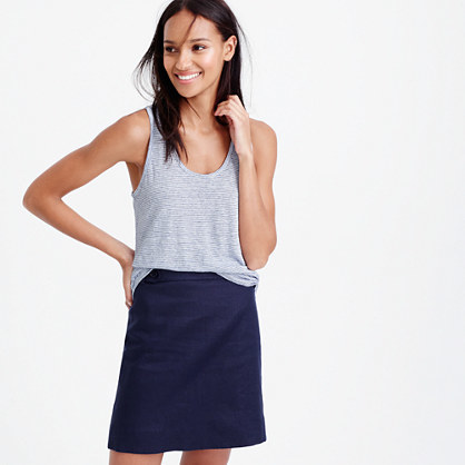 Linen Tank Top In Stripe - pattern: plain; sleeve style: sleeveless; style: vest top; predominant colour: pale blue; occasions: casual; length: standard; neckline: scoop; fibres: linen - 100%; fit: loose; sleeve length: sleeveless; texture group: linen; pattern type: fabric; season: s/s 2016