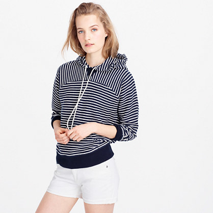 Paneled Terry Hoodie - neckline: high neck; pattern: striped; back detail: hood; style: standard, hoody; secondary colour: white; predominant colour: navy; occasions: casual; length: standard; fibres: cotton - 100%; fit: loose; sleeve length: long sleeve; sleeve style: standard; pattern type: fabric; texture group: jersey - stretchy/drapey; multicoloured: multicoloured; season: s/s 2016