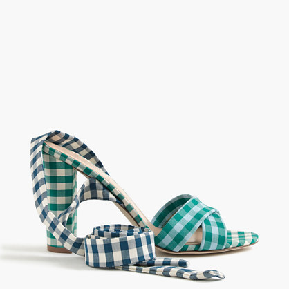 Mixed Gingham Sandals With Ankle Wrap - secondary colour: ivory/cream; predominant colour: emerald green; occasions: occasion; material: fabric; heel height: high; ankle detail: ankle tie; heel: block; toe: open toe/peeptoe; style: standard; finish: plain; pattern: checked/gingham; season: s/s 2016; wardrobe: event