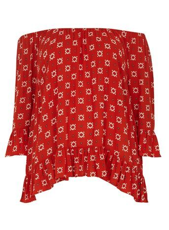 Orange Printed Frill Gypsy Top - neckline: off the shoulder; secondary colour: ivory/cream; predominant colour: true red; occasions: casual; length: standard; style: top; fibres: viscose/rayon - 100%; fit: body skimming; sleeve length: 3/4 length; sleeve style: standard; pattern type: fabric; pattern size: standard; pattern: patterned/print; texture group: other - light to midweight; season: s/s 2016; trends: boho; wardrobe: highlight