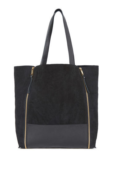 Leather Zip Detail Shopper Bag - predominant colour: black; occasions: casual, creative work; type of pattern: standard; style: tote; length: handle; size: oversized; material: leather; embellishment: zips; pattern: plain; finish: plain; season: s/s 2016