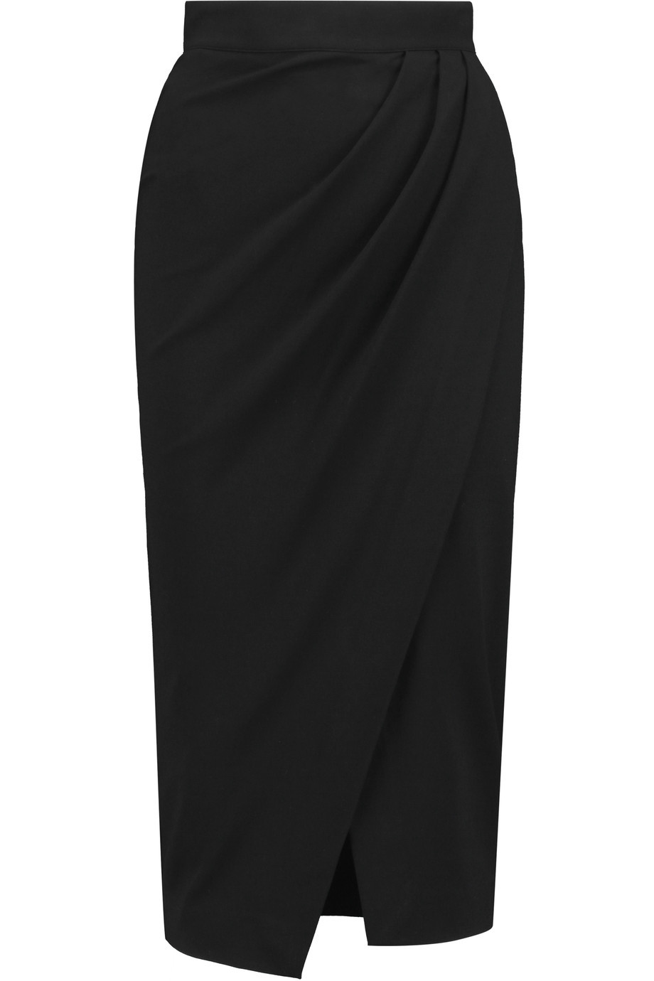 Amber Wrap Effect Ponte Jersey Skirt Black - length: below the knee; pattern: plain; style: pencil; fit: body skimming; waist: mid/regular rise; predominant colour: black; occasions: evening, creative work; fibres: viscose/rayon - stretch; pattern type: fabric; texture group: jersey - stretchy/drapey; season: s/s 2016; wardrobe: basic