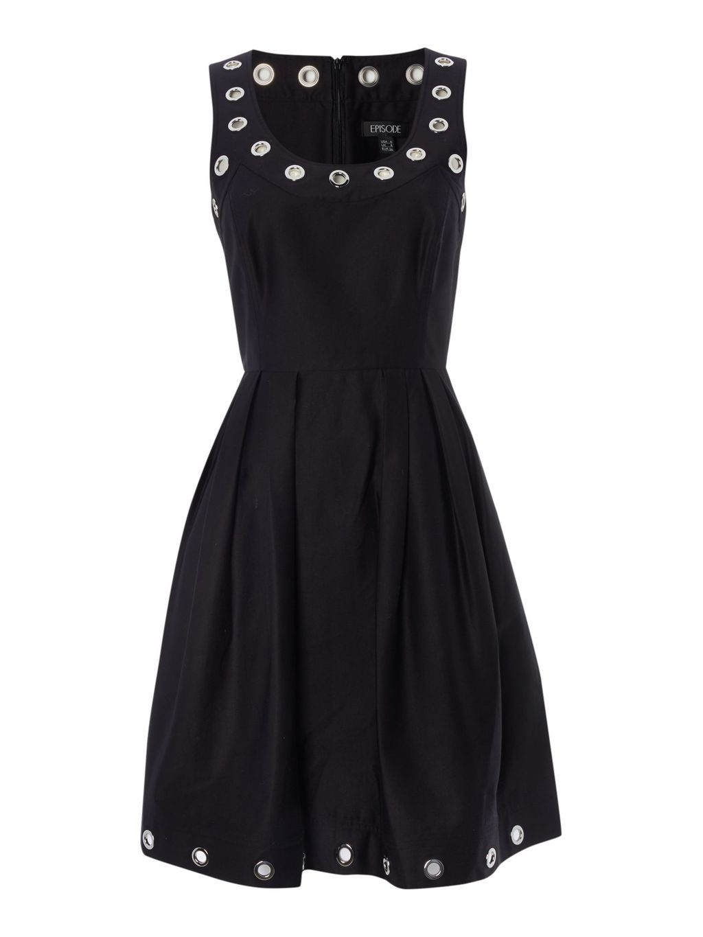 Sleeveless Fit & Flare Dress With Silver Eyelets, Black - neckline: round neck; pattern: plain; sleeve style: sleeveless; bust detail: added detail/embellishment at bust; hip detail: fitted at hip; predominant colour: black; occasions: evening; length: on the knee; fit: fitted at waist & bust; style: fit & flare; fibres: cotton - stretch; sleeve length: sleeveless; pattern type: fabric; texture group: jersey - stretchy/drapey; season: s/s 2016