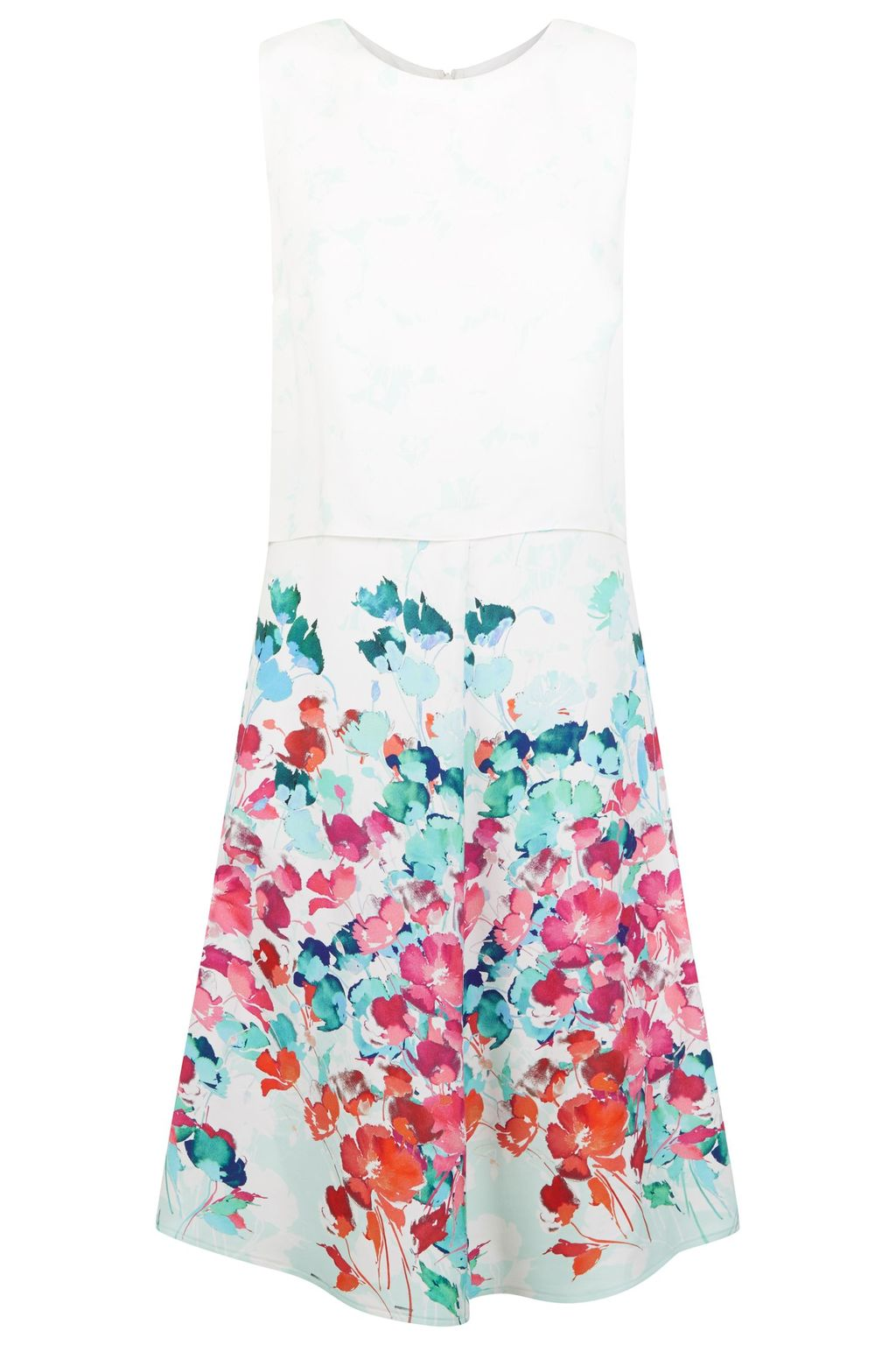 Klee Dress, Multi Coloured - style: shift; sleeve style: sleeveless; predominant colour: white; secondary colour: turquoise; length: on the knee; fit: soft a-line; fibres: viscose/rayon - 100%; occasions: occasion; neckline: crew; sleeve length: sleeveless; pattern type: fabric; pattern size: standard; pattern: patterned/print; texture group: other - light to midweight; multicoloured: multicoloured; season: s/s 2016; wardrobe: event