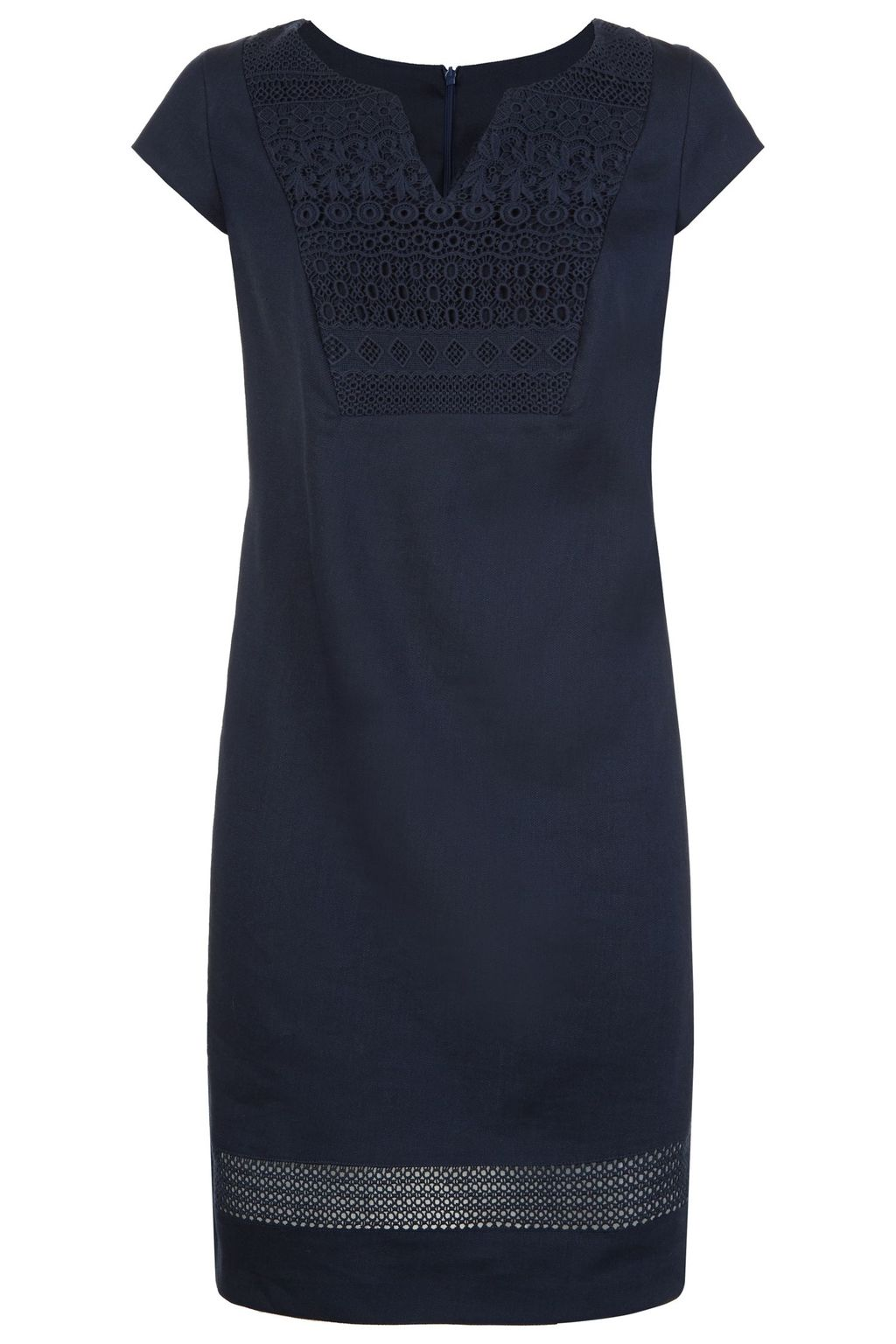Okeeffe Dress, Navy - style: shift; neckline: v-neck; sleeve style: capped; predominant colour: navy; occasions: casual; length: just above the knee; fit: body skimming; fibres: linen - mix; sleeve length: short sleeve; pattern type: fabric; pattern: patterned/print; texture group: other - light to midweight; embellishment: embroidered; season: s/s 2016; wardrobe: highlight; embellishment location: bust