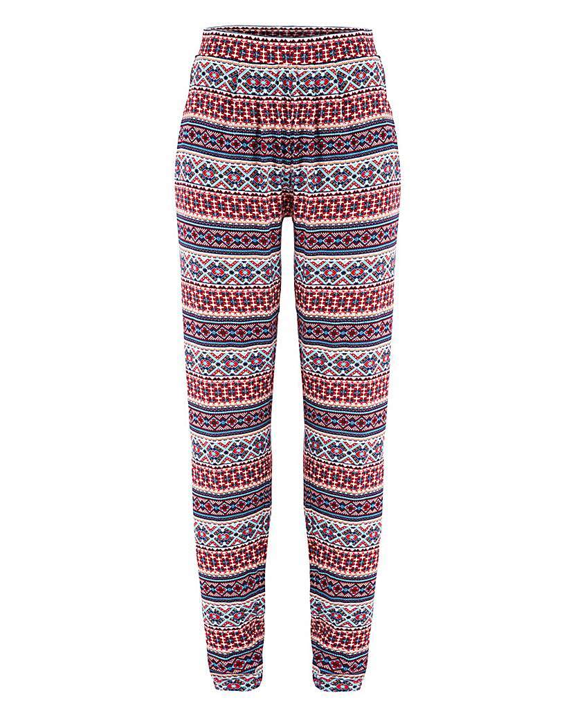 Harem Jersey Trouser - length: standard; style: harem/slouch; waist: high rise; occasions: casual, creative work; fibres: viscose/rayon - stretch; texture group: crepes; fit: slim leg; pattern type: fabric; pattern: patterned/print; predominant colour: raspberry; pattern size: standard (bottom); season: s/s 2016; wardrobe: highlight
