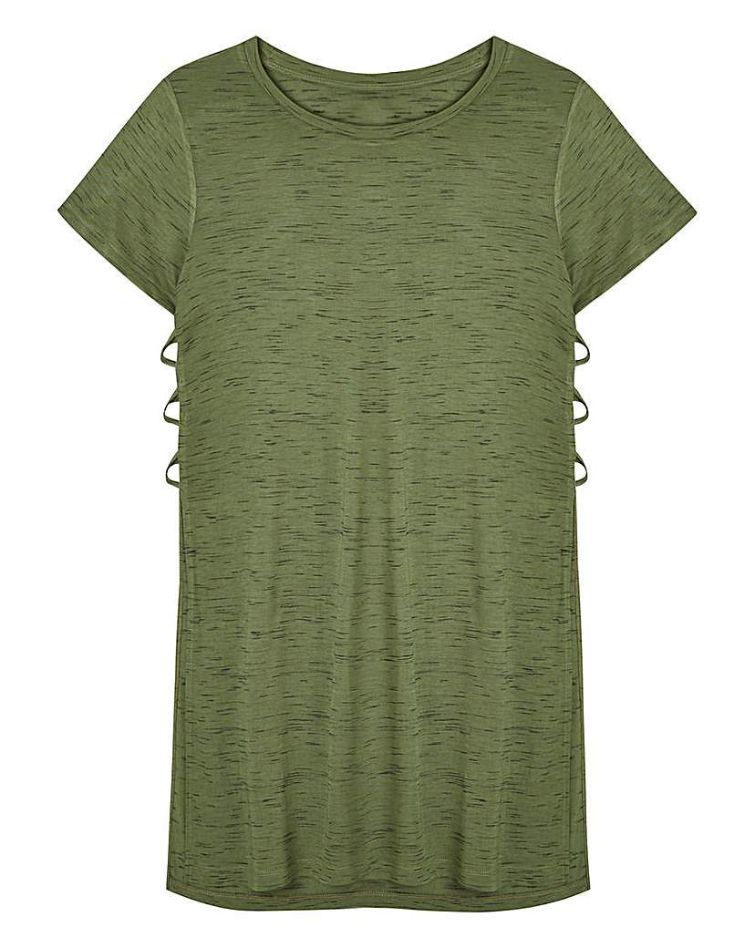 Slub Side Split T Shirt - pattern: plain; length: below the bottom; style: t-shirt; predominant colour: khaki; occasions: casual; fibres: cotton - 100%; fit: body skimming; neckline: crew; sleeve length: short sleeve; sleeve style: standard; pattern type: fabric; texture group: jersey - stretchy/drapey; season: s/s 2016; wardrobe: basic
