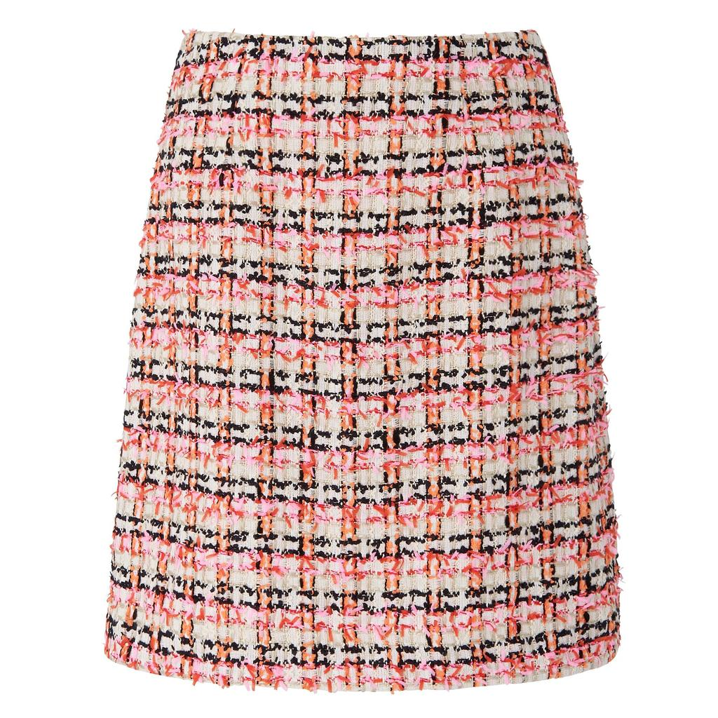 Echo Skirt In Multi Orange Multi Orange - length: mid thigh; pattern: checked/gingham; style: straight; waist: mid/regular rise; predominant colour: blush; secondary colour: black; occasions: casual; fibres: cotton - mix; fit: straight cut; pattern type: fabric; texture group: woven light midweight; multicoloured: multicoloured; season: s/s 2016; wardrobe: highlight